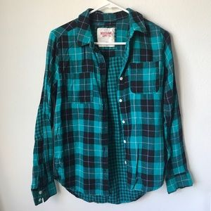 Teal & Black Plaid Button-Up Shirt